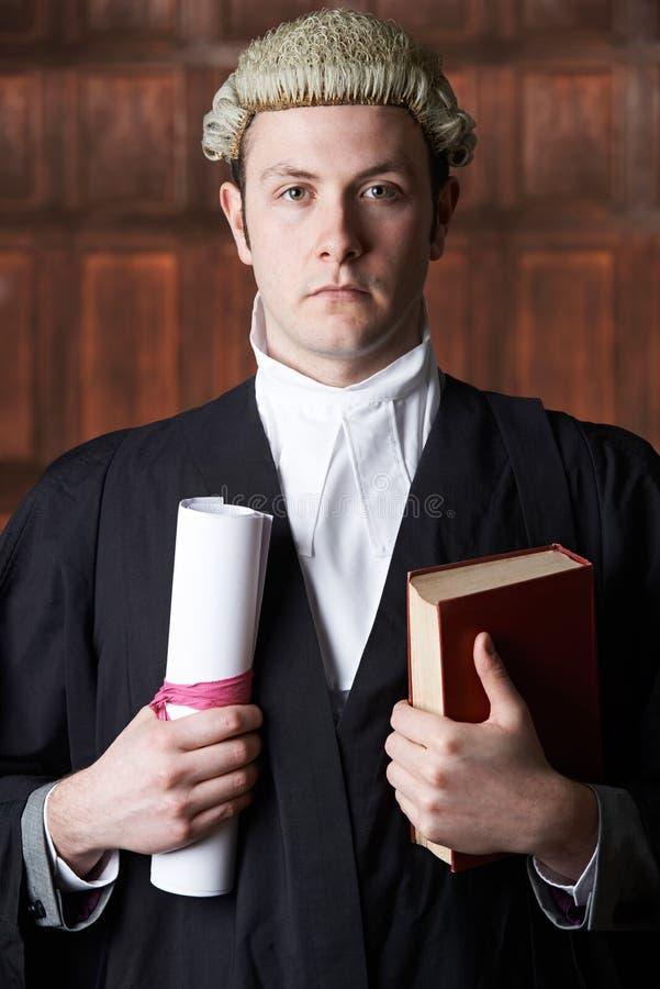 Портрет мужского юриста в суде держа сводку и книгу стоковое изображение