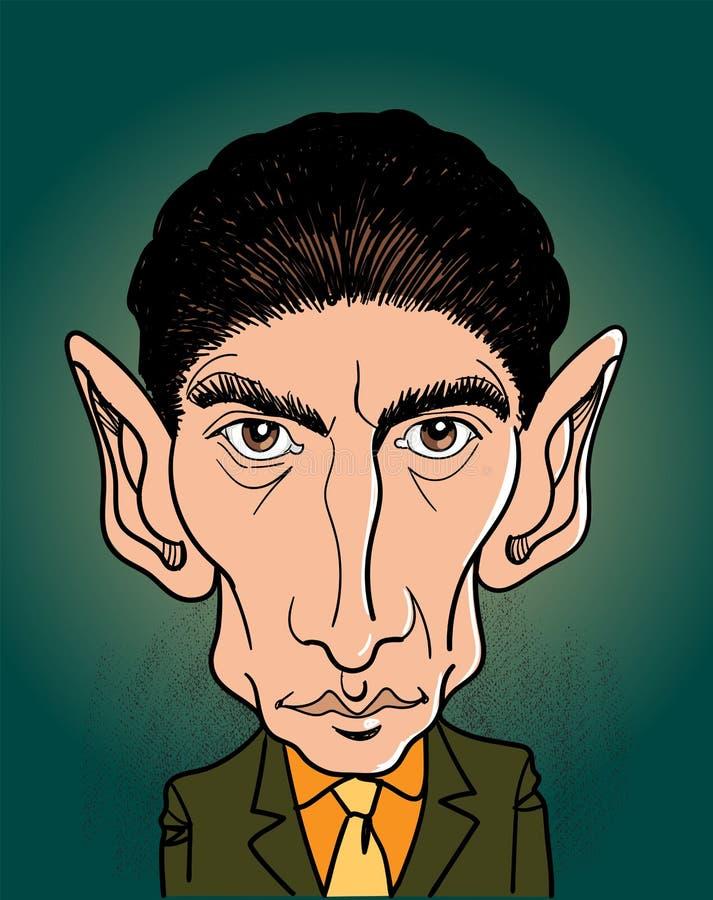 Портрет мультфильма Франц Кафка, вектор иллюстрация вектора