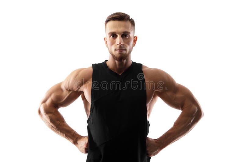 Портрет мышечной мужской модели изолированной на белой предпосылке стоковое изображение rf
