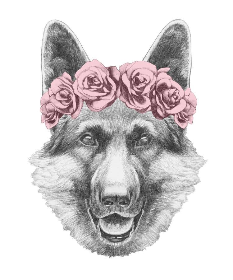 Портрет немецкой овчарки с флористическим головным венком бесплатная иллюстрация