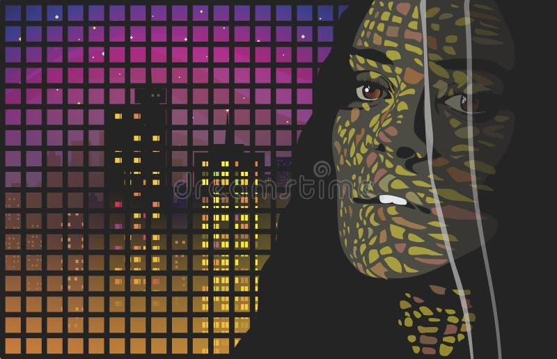 Портрет ночи иллюстрация вектора
