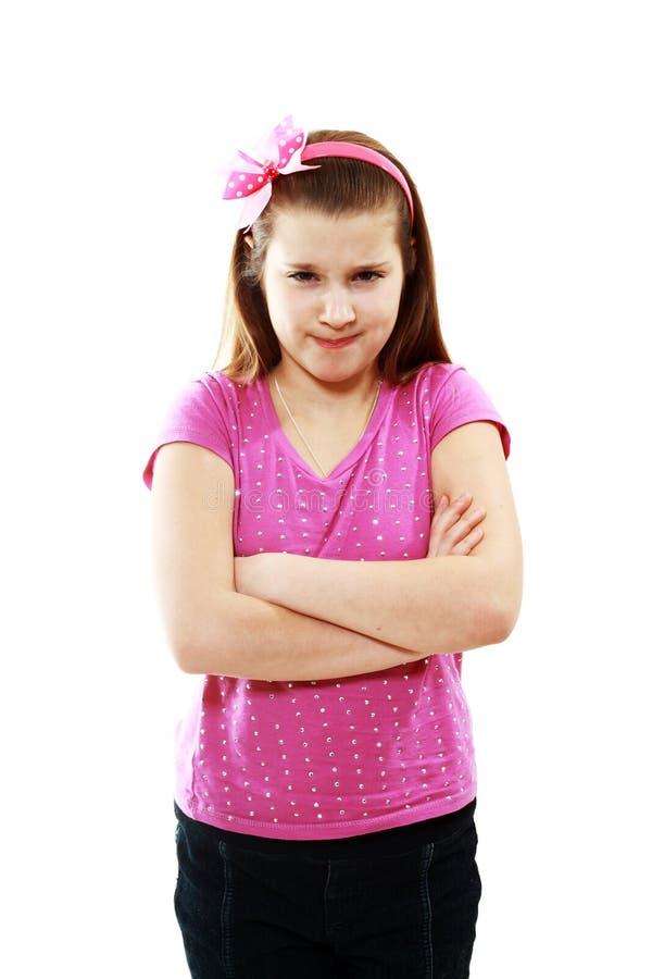 Девушка сердитая стоковая фотография rf