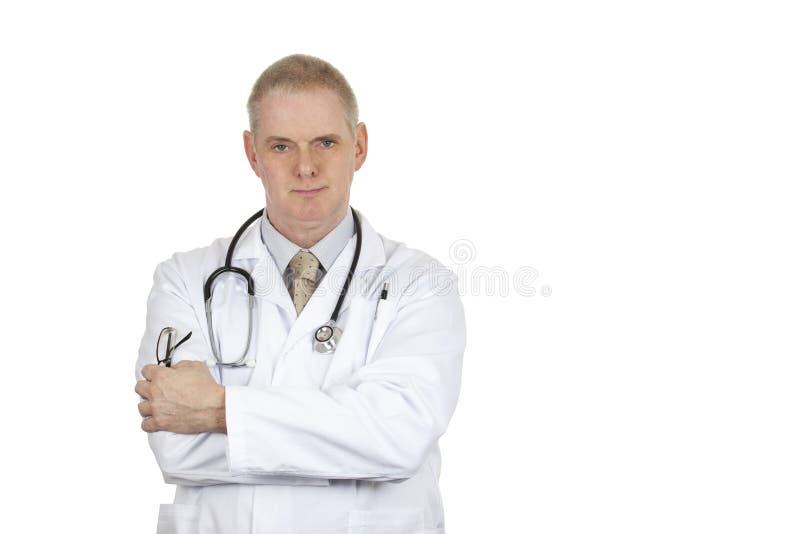Портрет доктора нося белые пальто и стетоскоп стоковые изображения rf