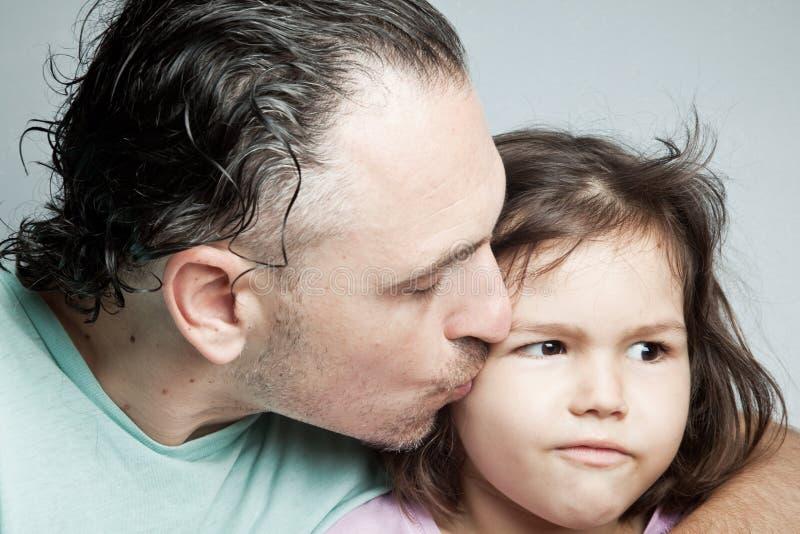 Портрет, отец и дочь семьи стоковая фотография rf