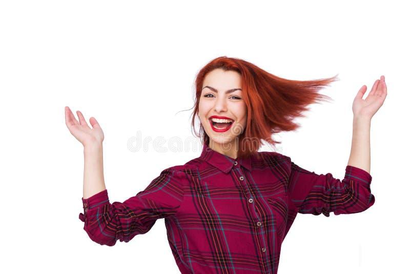 Портрет очень счастливой молодой женщины стоковые изображения