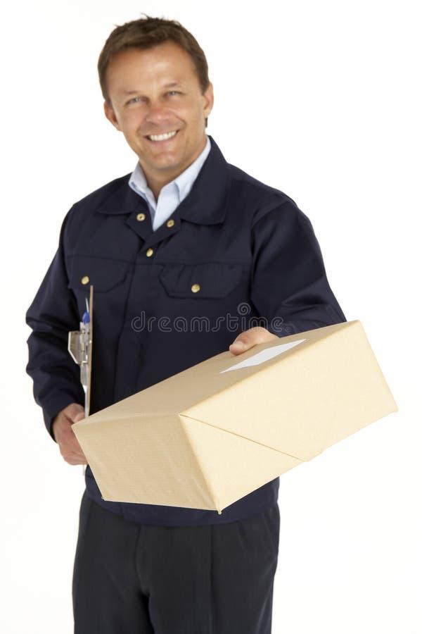 портрет пакета курьера стоковое изображение rf