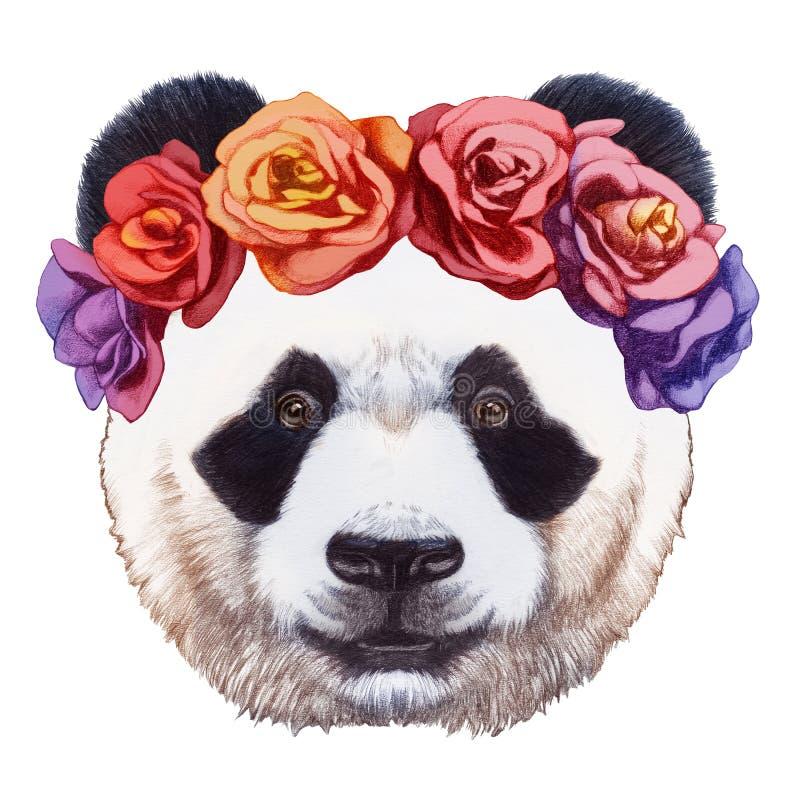 Портрет панды с флористическим головным венком бесплатная иллюстрация