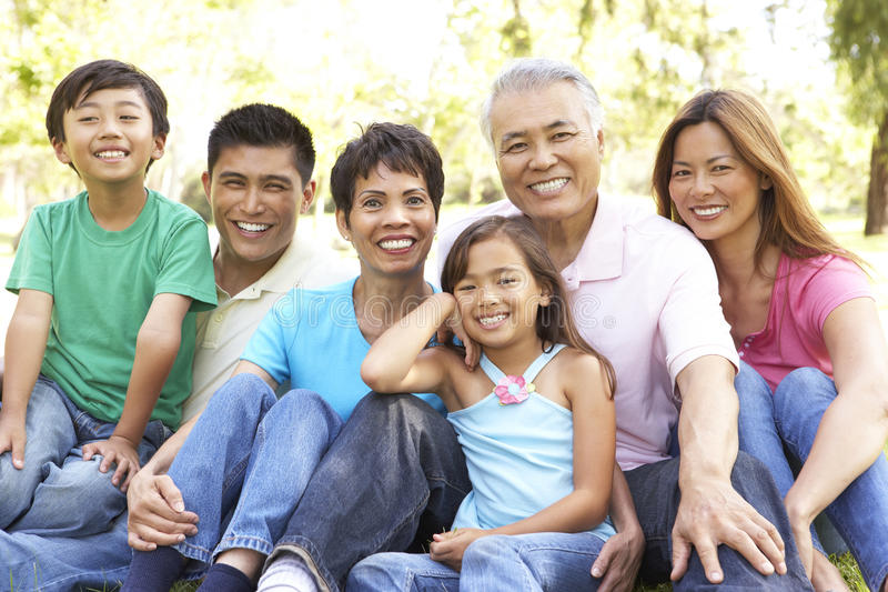 портрет парка группы семьи из нескольких поколений стоковое фото