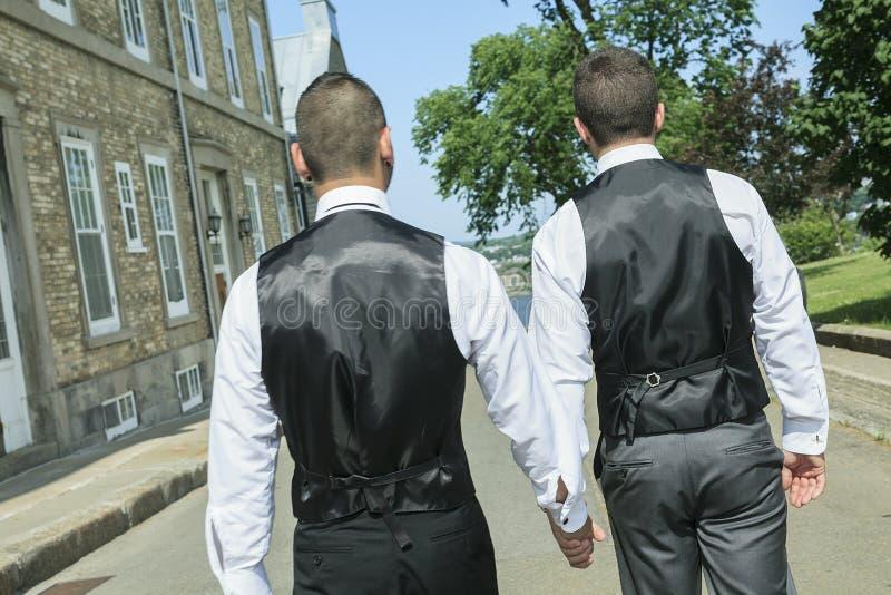 Портрет пары любящего гомосексуалиста мужской на их стоковое фото rf
