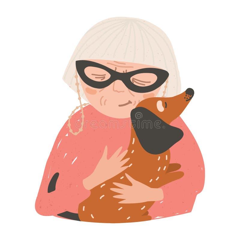 Портрет пожилой женщины или женщины держа его собаку и обнимать таксы Красивый женский обнимать персонажа из мультфильма иллюстрация вектора