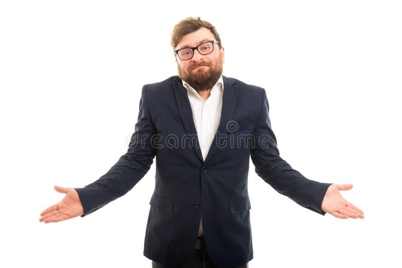 Портрет показа бизнесмена надевает ` t знает жест стоковое изображение