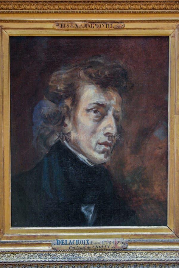 Портрет польского композитора Chopin Delacroix Осмотр достопримечательностей Лувр Известный осмотр достопримечательностей Парижа  стоковое изображение rf