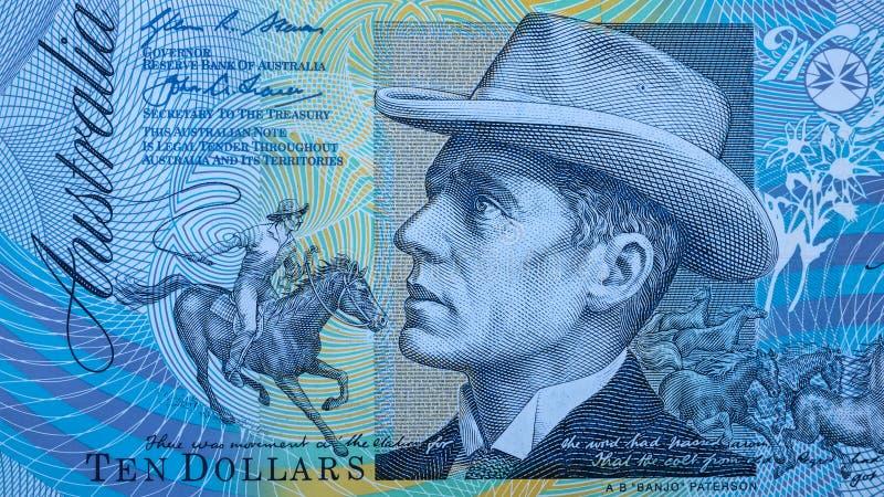 Портрет Преподобия Банджо Paterson от австралийца 10 долларов стоковое изображение