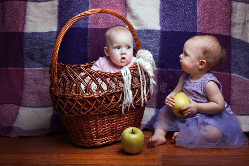 Портрет 2 прелестных младенцев стоковое фото