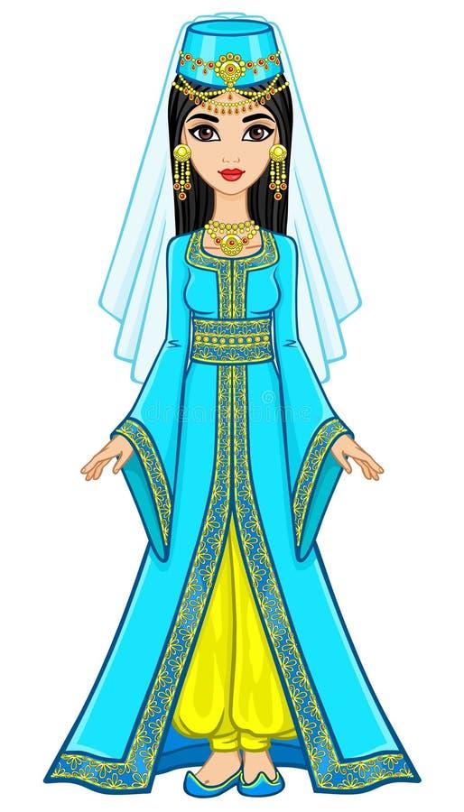 Портрет принцессы анимации арабской в старом костюме иллюстрация вектора