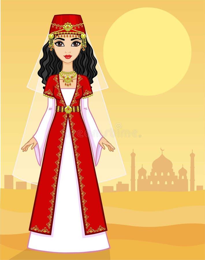 Портрет принцессы анимации восточной в старых одеждах полный рост бесплатная иллюстрация