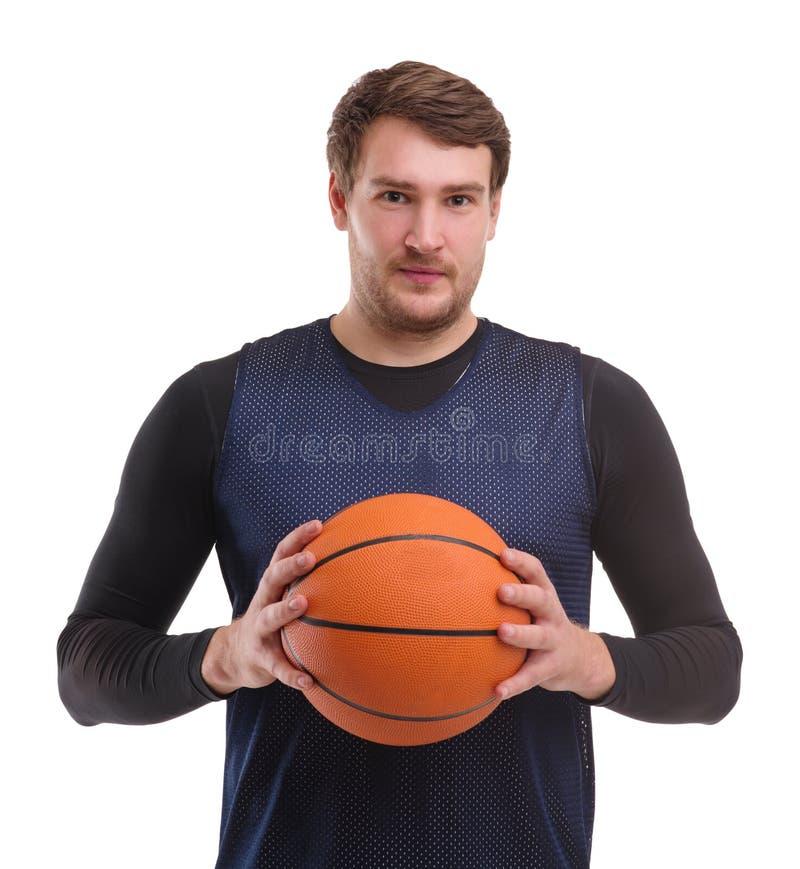 Портрет профессионального баскетболиста Изолировано на белизне стоковая фотография rf