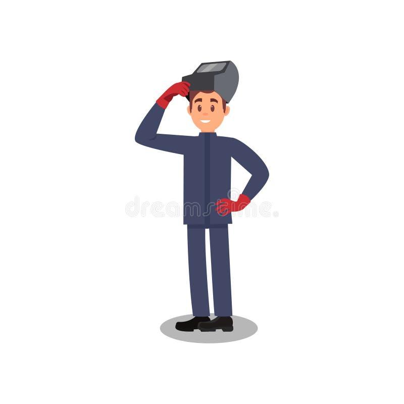 Портрет профессионального сварщика Молодой усмехаясь человек в маске заварки, голубой форме и красных защитных перчатках Плоский  иллюстрация вектора