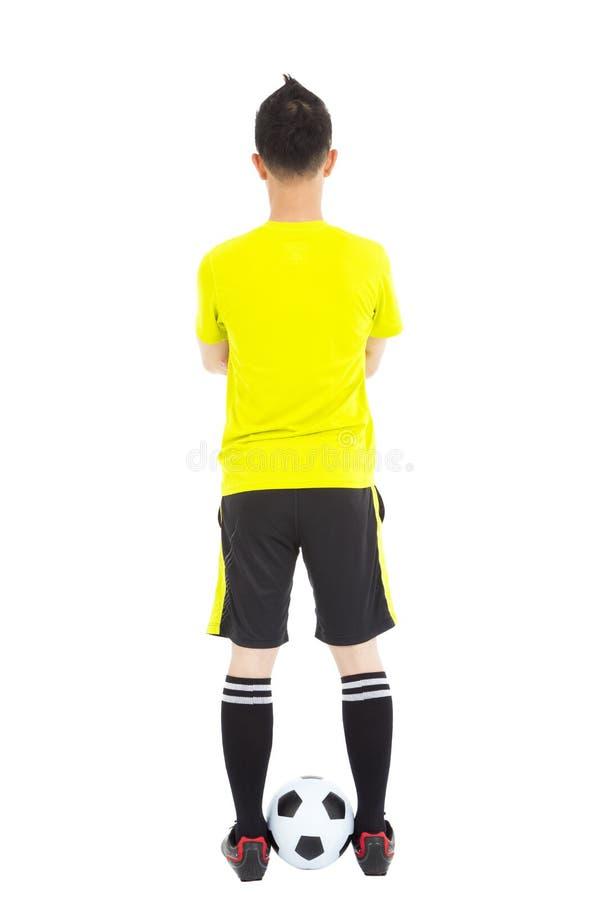 Портрет профессионального футболиста с шариком стоковые изображения rf