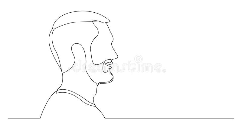 Портрет профиля молодого говоря бородатого человека - непрерывной линии чертежа на белой предпосылке иллюстрация штока