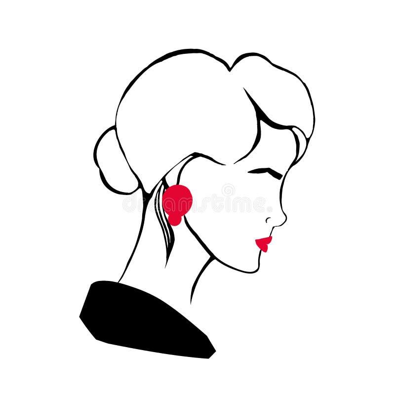 Портрет профиля руки вычерченный стильной молодой дамы Стилизованный чертеж головы или стороны ультрамодной женщины с красными гу иллюстрация вектора