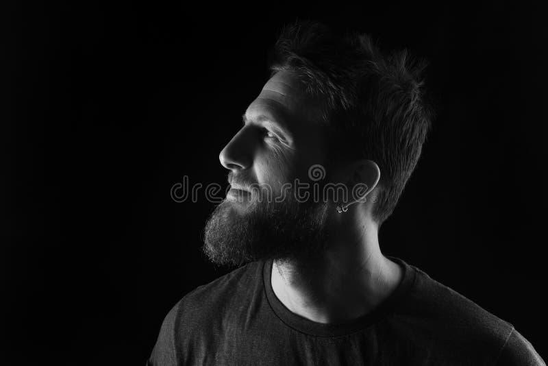 Портрет профиля человека на черной предпосылке, черно-белого стоковая фотография rf
