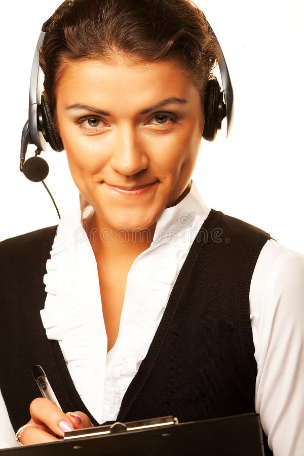 Портрет работника обслуживания клиента женщины, центра телефонного обслуживания усмехаясь o стоковые изображения rf