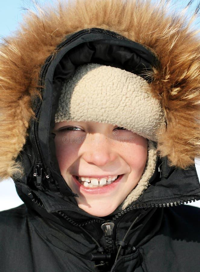 Портрет ребенк в зиме стоковое фото