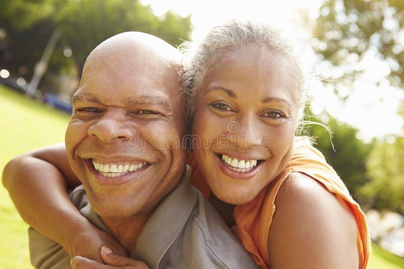 Портрет романтичных старших пар ослабляя в парке стоковые фото