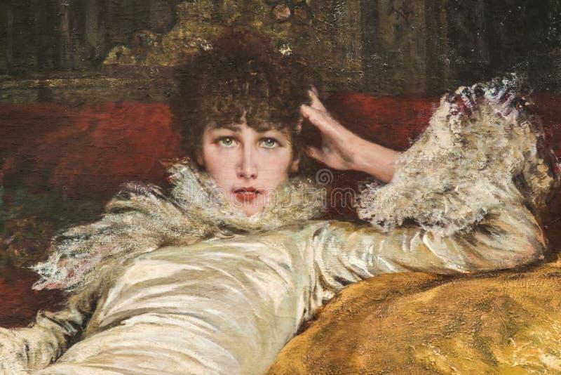 Портрет Сара Бернард Jugendstil nouveau искусства стоковые изображения rf