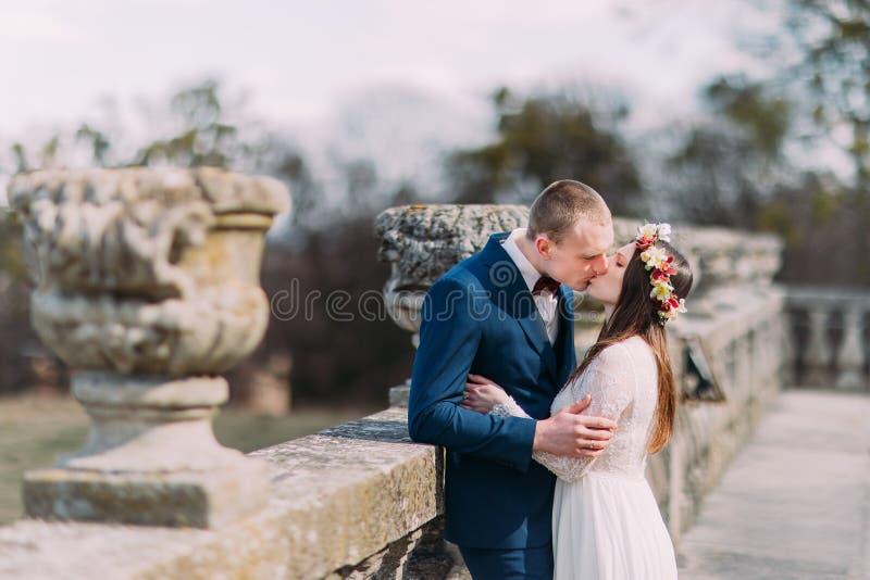 Портрет свадьбы стильных пар новобрачных запальчиво целуя на старом каменном парке террасы весной стоковое фото