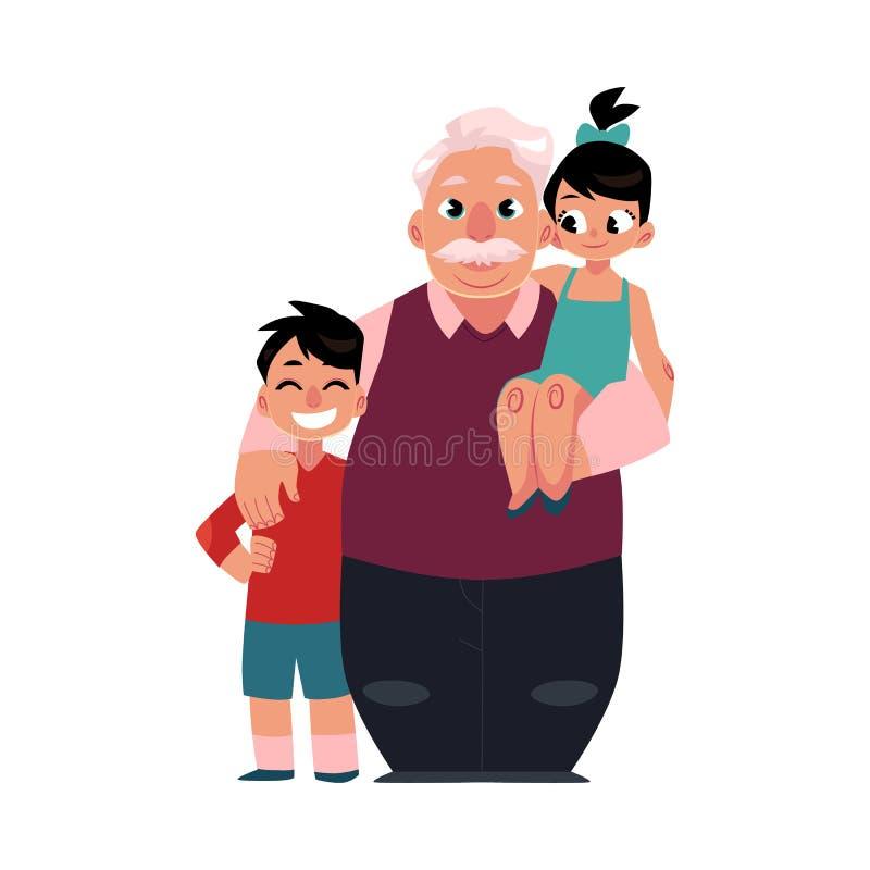 Портрет семьи, дед, grandpa стоя с внуками, счастливый и усмехаться бесплатная иллюстрация