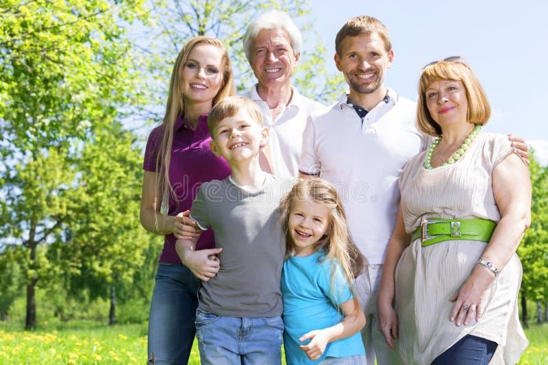 Портрет семьи из нескольких поколений в парке стоковая фотография