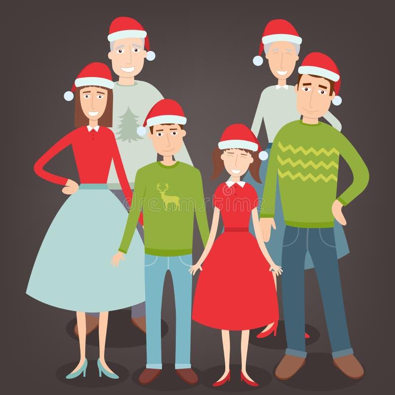 Портрет семьи рождества Праздники семьи вектор бесплатная иллюстрация