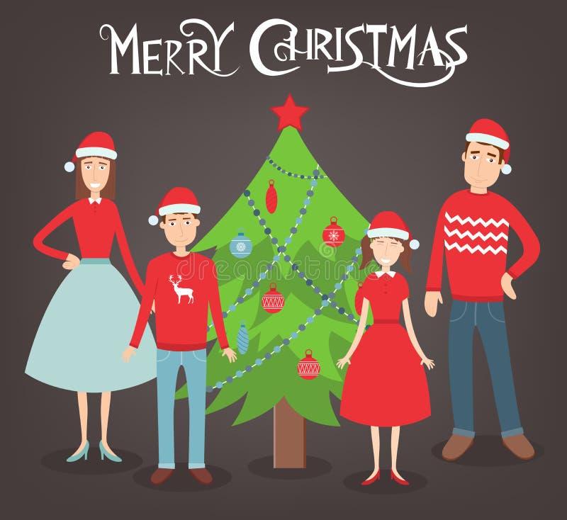 Портрет семьи рождества Праздники семьи вектор иллюстрация вектора