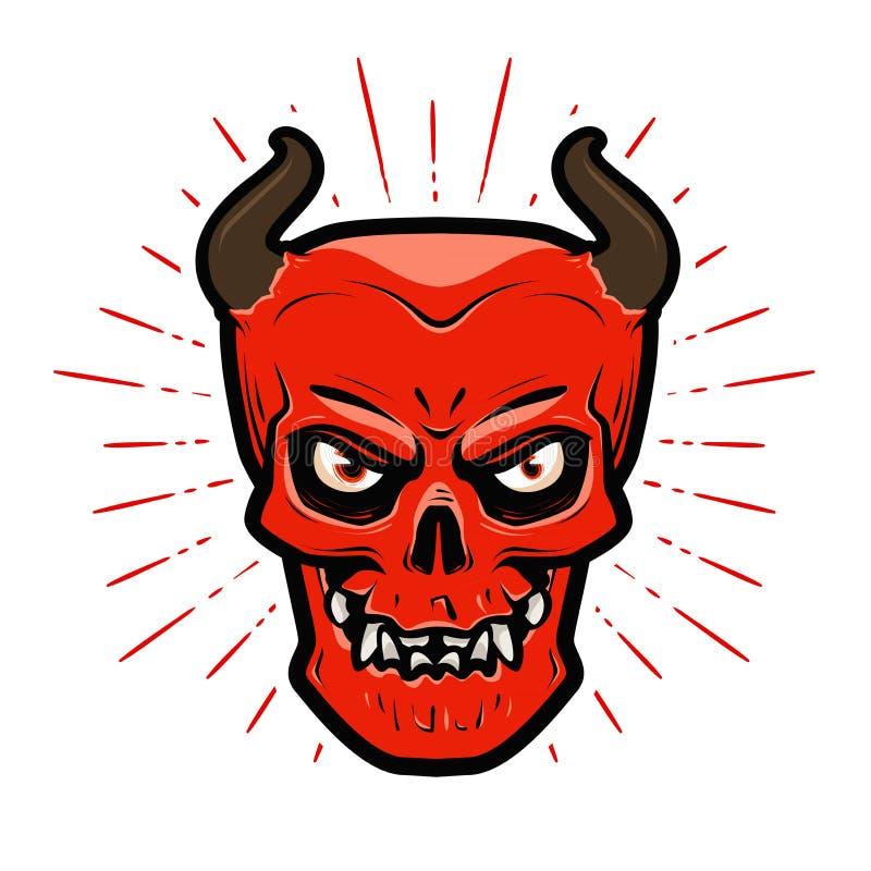 Портрет сердитого дьявола Хеллоуин, satan, lucifer, ад, символ devilry иллюстрация вектора