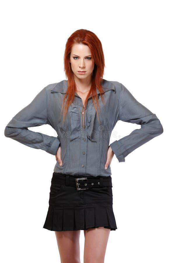 Портрет серьезной женщины redhead стоковые изображения rf