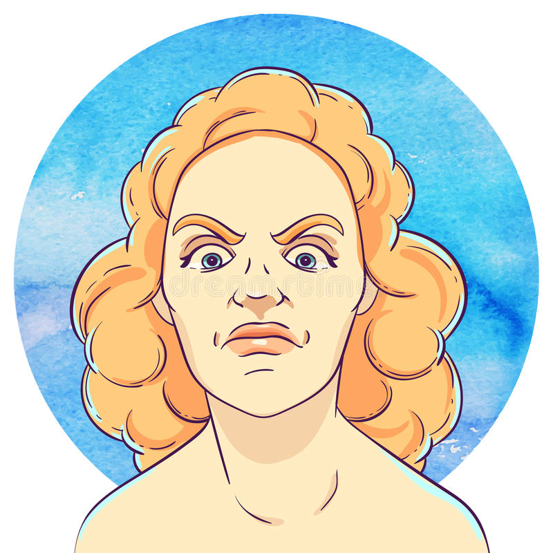 Портрет сердитой маленькой девочки с красным вьющиеся волосы иллюстрация штока