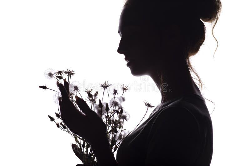 Портрет силуэта девушки с букетом сухих цветков, лобовым профилем мечтательной молодой женщины на белой изолированной предпосылке стоковая фотография