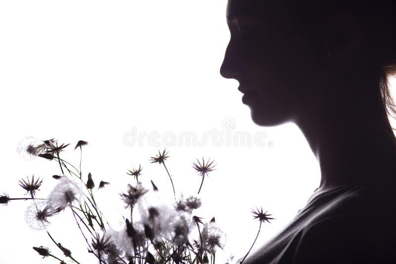 Портрет силуэта девушки с букетом сухих цветков, лобовым профилем мечтательной молодой женщины на белой изолированной предпосылке стоковая фотография rf