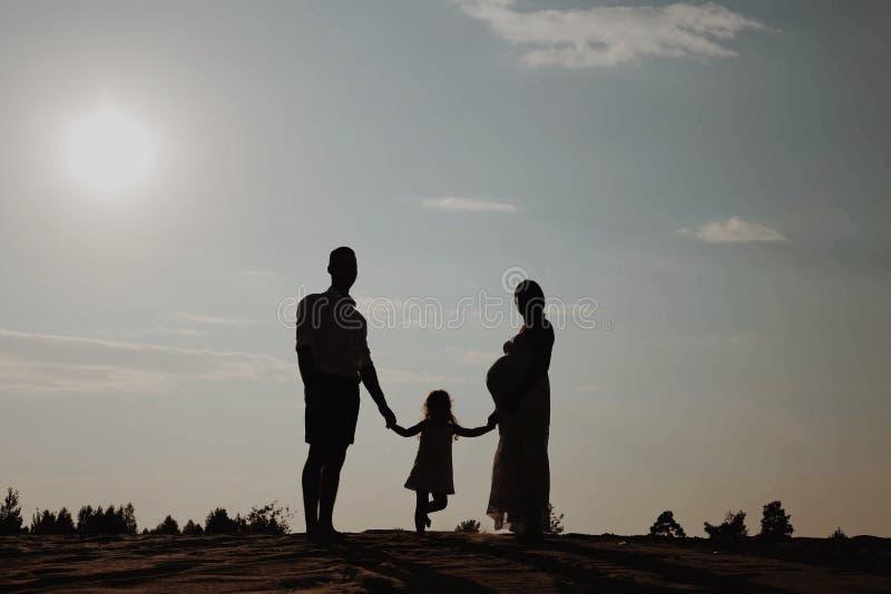 Портрет силуэта красивой молодой семьи в ожидании newborn Человек и женщина стоя лицом к лицу с их стоковые фотографии rf