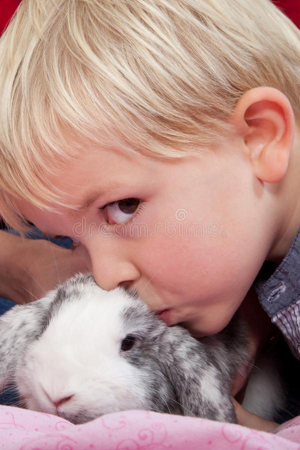 Портрет скандинавского молодого мальчика в студии с кроликом стоковое изображение rf