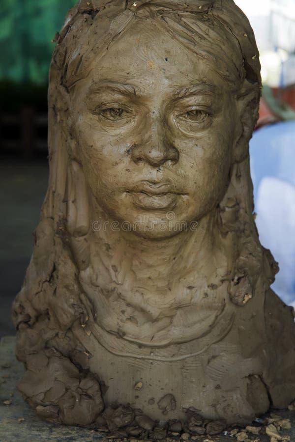 Портрет скульптуры прессформы женщины заголовка стоковое фото rf