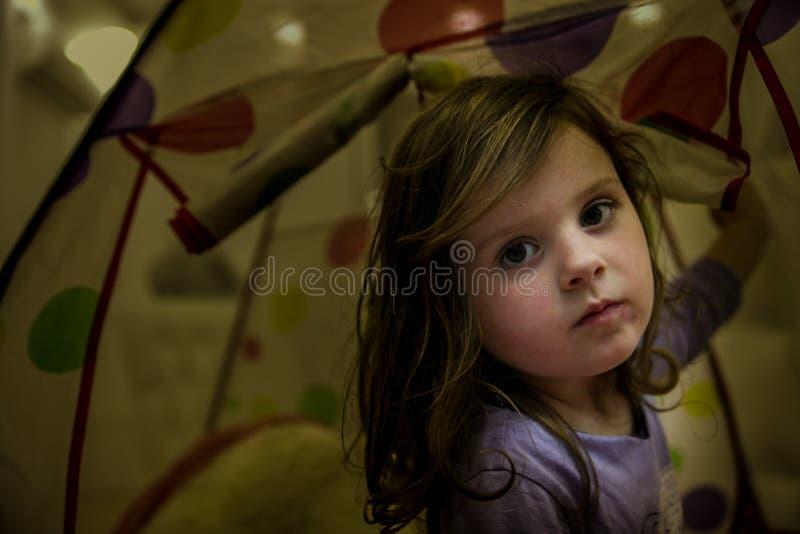 Портрет сладкой маленькой девочки в доме стоковые фотографии rf