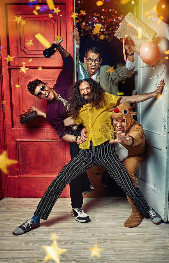 Портрет смешных парней на партии стоковое изображение rf