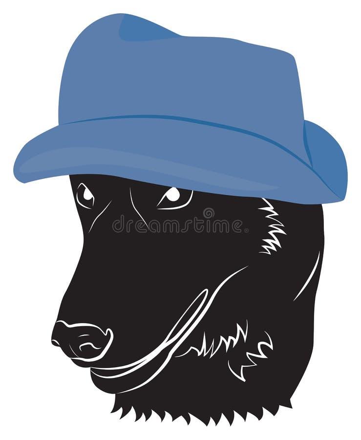 Портрет собаки в шляпе иллюстрация штока