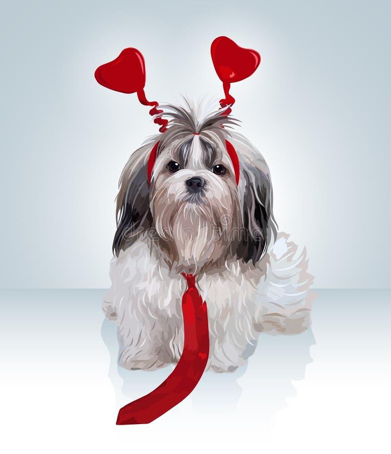 Портрет собаки Shih Tzu иллюстрация штока