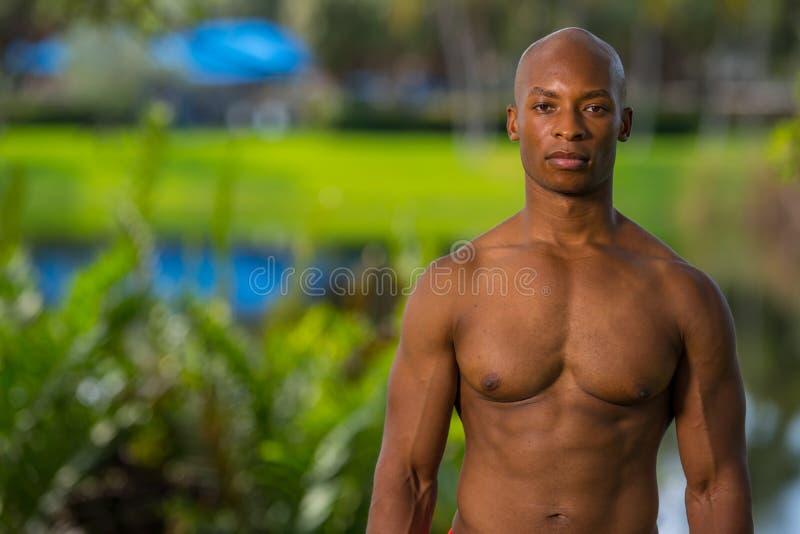 Портрет сорванного человека мышцы тела представляя outdoors стоковое фото