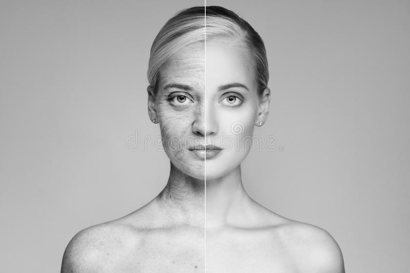 Портрет старой и молодой женщины Принципиальная схема вызревания стоковые изображения