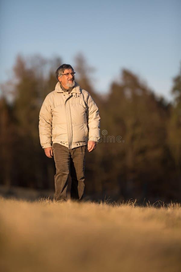 Портрет старшего человека идя outdoors стоковая фотография rf